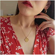 Olbye Roman Medallion Coin Necklace Choker Gold Disk Necklace for Women and Girls Personalized Necklace Jewelry (Style 2)