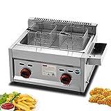 Freidora de gas de 12L Sartén comercial Máquina de papas fritas Alas de pollo frito Freidora de cilindro Control de temperatura de acero inoxidable