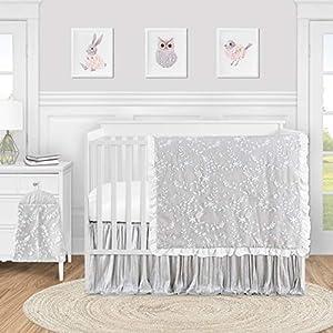 Sweet Jojo Designs Grey Floral Vintage Lace Baby Girl Nursery Crib Bedding Set – 4 Pieces – Solid Light Gray Crinkle Crushed Velvet Luxurious Elegant Princess Boho Shabby Chic Luxury Flower Ruffle
