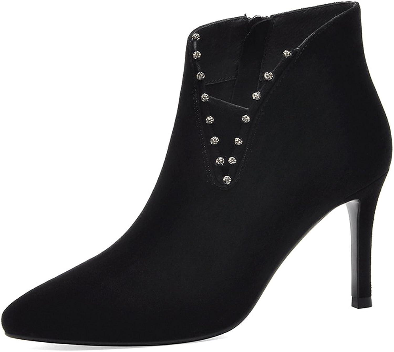 BERTERI Women's Pointy Toe High Heel Boot Side Zipper Bootie
