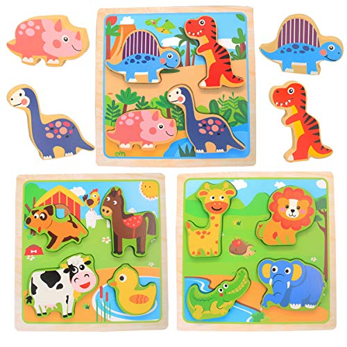 Wooden Jigsaw Puzzles for Toddlers 1-3, 3 Pcs Animal Puzzle Sets for Kids - Dinosaurs, Farm and Zoo Animals, Educational Learning Toys Best Gift for Girls Boys