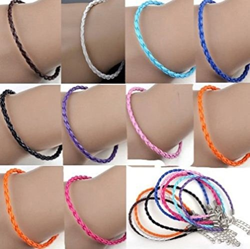 Onwon 50 PCS Mixed Color Leather Lace Plaited Bracelet Cords DIY Jewelry Making Handicrafts Braided Ropes with Lobster Clasps Extended Chain for Wrist Charms Bracelets Jewelry Making
