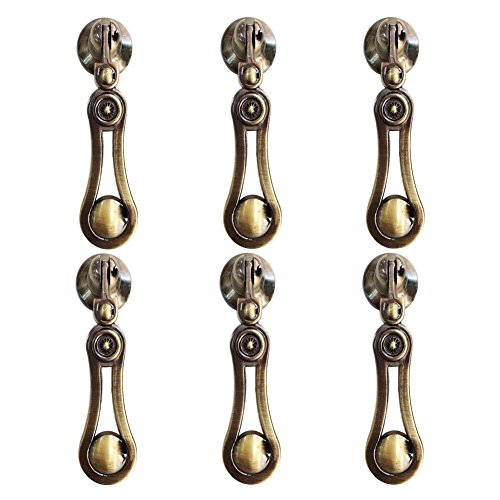 Eforlike 6 Pcs Zinc Alloy handle Classical Antique Handle Single Hole Hanging Small Handle Furniture Hardware Fittings