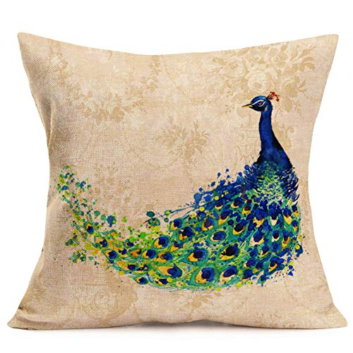 Fukeen - Funda de cojín decorativa con diseño de pavo real