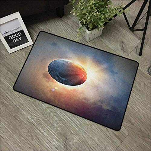 Hall mat W31 x L47 INCH World,Days Cycle Theme Rising Sun Planet in Space Astronomy Cloudscape Atmosphere, Yellow Blue Beige Non-Slip Door Mat Carpet