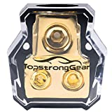 TOPSTRONGGEAR 0/2/4 Gauge in 4/8 Gauge Out 2 Way Amp Copper Power Distribution Block for Car Audio Splitter