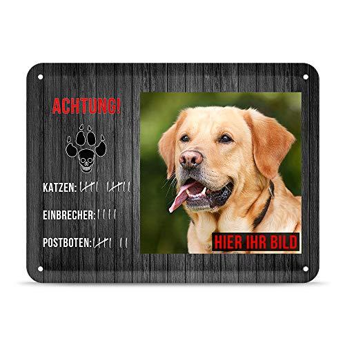 PR Print Royal Blechschild PERSONALISIERT mit EIGENEM Hundefoto und Spruch - Katzen-Einbrecher-Postboten - Geschenkidee für Hundebesitzer/Türschild/Hundeschild - Querformat DIN A5