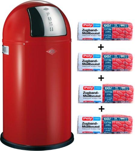 WESCO Pushboy 50-Liter Mülleimer rot + 56 Stück optimal passende Müllbeutel