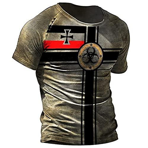 Camiseta Retro para Hombre Camiseta con Estampado Cruzado Vintage Bus Camisetas Deportivas de Manga Corta con Cuello Redondo y Manga Corta
