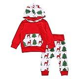 Hirolan Baby Strampler Neugeboren Babykleidung Säugling Baby Junge Mädchen Hirsch Pfeil Kapuzenpullover Lange Hülse Tops Täglich Hose Mode Outfits Kleider Set (90cm, Rot)