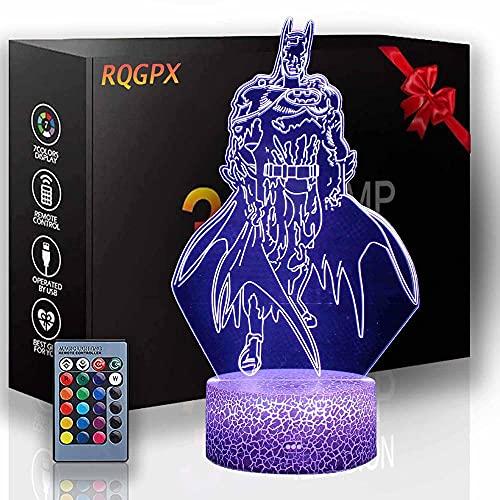 Lámpara de ilusión 3D Batman B 3D Luz de noche para niños 16 colores cambiantes acrílico LED noche luz para niños y niñas como cumpleaños o vacaciones un regalo