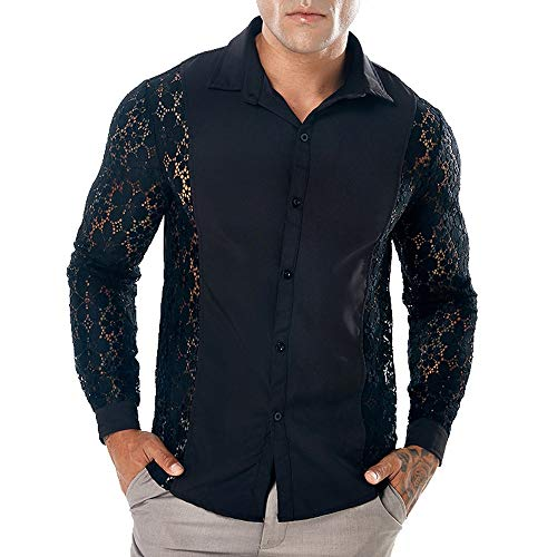 Sumen Men Hot Sexy Clubwear See Through Long Sleeves Full Lace Dress Shirt (L, Lace Sleeve-Black)