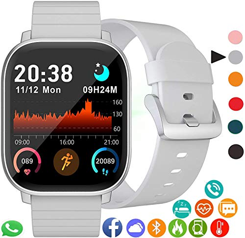Reloj Inteligente IP68 Impermeable Cronómetro Pulsera Actividad Fitness Podómetro 1.4 Pulgadas Toque Pantalla Completa… 1