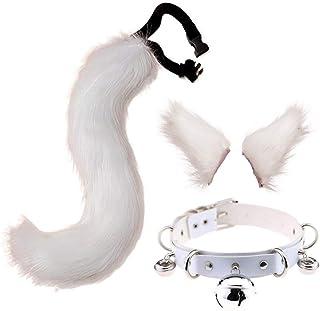 Beautiful crown 3 pezzi Peluche Cat Ores Hears Hair Clip per bambini adulti, coda di lupo peloso con cuoio in ecopelle Set...