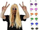 Juego de accesorios para adultos de 1960 a 1970, perfecto para HIPPIE 60S – 70S o cualquier disfraz de fiesta con flores de color dorado, lentes negros
