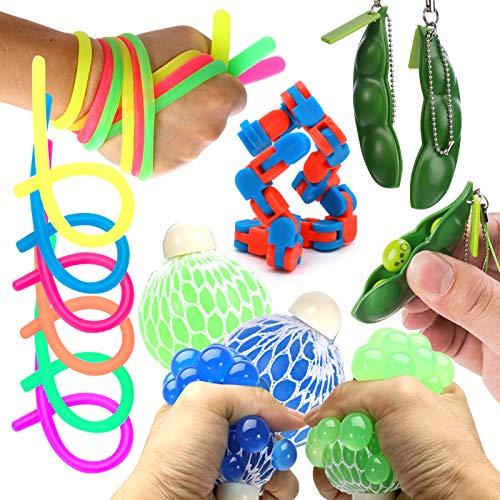 Juguetes sensoriales para autismo, ADHD. 2 bolas de alivio del estrés, 2 exprimir de soja, 2 cadenas abatibles y 3 cuerdas elásticas de gran tamaño con embalaje reutilizable (calidad Premuim)