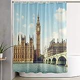 VINISATH Cortinas de Ducha,Big Ben en un día Soleado de Londres,Cortina de baño Decorativa para baño,bañera 180 x 180 cm