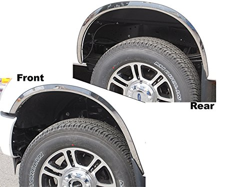QAA fits 2011-2016 Ford F-250 & F-350 Super Duty 4 Piece Molded Stainless Steel Wheel Well Fender Trim Molding, 2