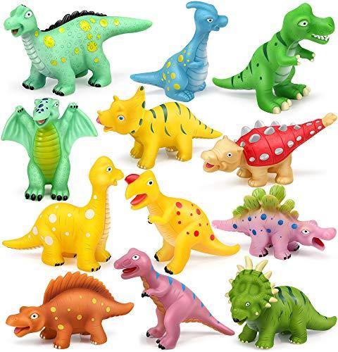 GeyiieTOYS Badespielzeug Schwimmendes Poolspielzeug Dino Figur Badewanne Wasserspielzeug 12 Stücke für Babys und Kleinkinder ab 6 Monaten