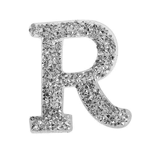 Foviupet englisches Alphabet A-Z Strass-Buchstabe bestickt zum Aufbügeln, R