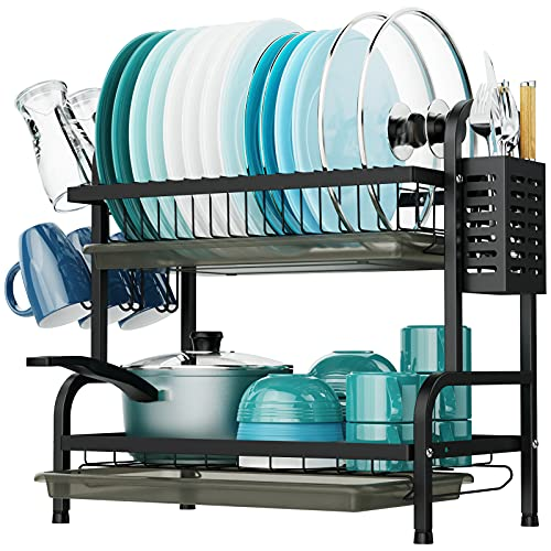 Dish Drying Rack, iSPECLE 2 Tier Dish Rack with Cup Holder, Dish Drainer with Drainboard and Utensil Holder Large Capacity for Kitchen Countertop Saving Space