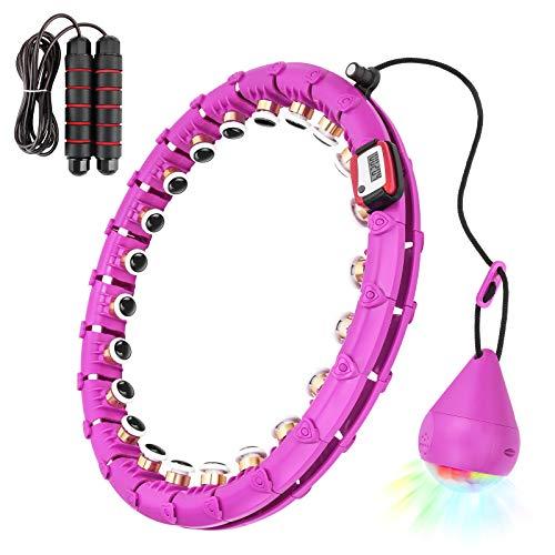 Furado Smart Hu-la Ho-op para Adultos, Fitness Hula Ring para Bajar De Peso, 24 Aros De Hula Articulados Se Pueden Ajustar para Perder Peso Y Estar En Forma con Una Cuerda para Saltar
