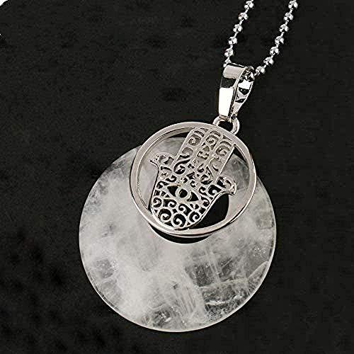 Collar Collar Círculo natural Piedra Cristal Colgante Fátima Mano Palma Colgantes Collares Amuleto Joyería protectora para mujeres Hombres Longitud del collar 45Cm Tamaño del colgante Aproximadamente