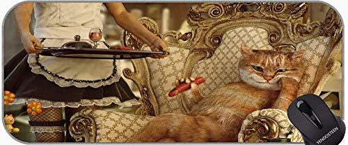 Mousepad de Goma Antideslizante XXL Antideslizante con Bordes cosidos con mucas de Hierro de fiderazas Humor de Gato de Gato Bebida Antideslizante portátil Ordenador portátil Teclado Mousepad