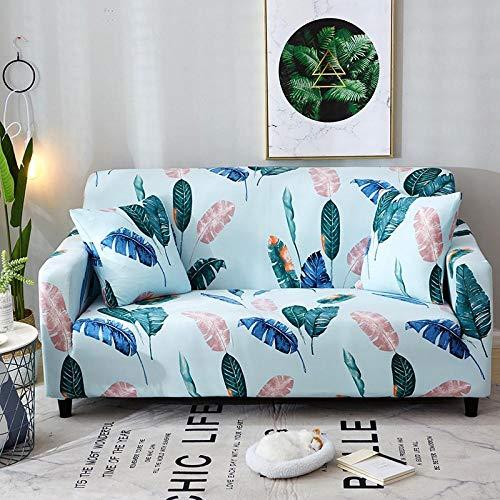 Funda Sofá 145-185 cm con Funda de Cojín de 2 Piezas 45x45 cm (Pack de 3), Poliéster Stretch Cubre Sofá Funda Protector Antideslizante Sofa Couch Cover (Las Hojas de La Planta/2 Asientos)