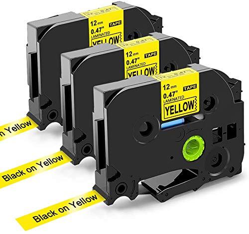 Oozmas Nastri Cartuccia Compatibile in Sostituzione di Brother TZe Tape 12mm 0.47 TZe-631, 12mm x 8m, Compatibile Brother P-Touch PT-H100R PT-1005 PT-1010 PT-2030, (Nero su Giallo, Confezione da 3)