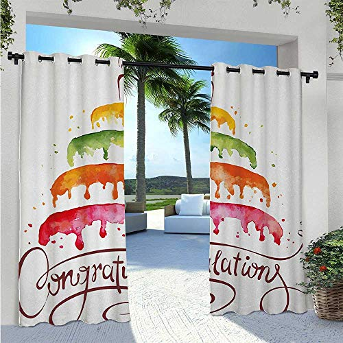 Indoor Outdoor Curtains Watercolor Artwork of Multiplex Cake with a Candle Congratulations Theme Design Blackout Outdoor Curtain Drapes for Canopy/Pergola/Yard Privacy Multicolor W72 x L96 Inch