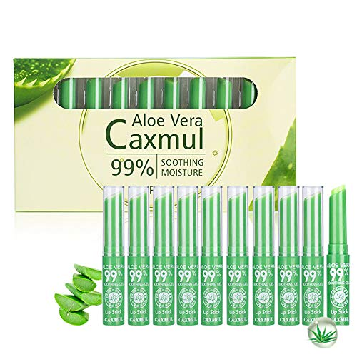 Aloe Vera Jelly Lipstick Kit Farbwechsel Temperatur Balsam Lipgloss Feuchtigkeitsspendende Anhaltende Antihaft-Tasse Makeup10PCS