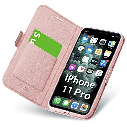 Hülle iPhone 11 Pro, Schutzhülle iPhone 11 Pro mit Kartenfach und Ständer, Handyhülle Tasche Leder, Etui Folio, Flip Cover Case, PU und TPU Komplettschutz Apple XI Pro 5.8 Zoll Phone 2019. Rosegold