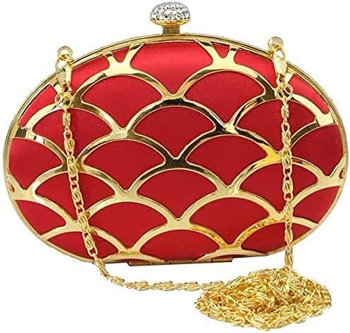 Women's Evening Handbags Metal Hollow Tassels Clutch Bag Banquet Bag Diagonal Package Chain Bag (Color : Red)