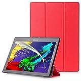 Lenovo Tab 2 A10 / Tab3 10 Plus / Tab3 10 Business Funda - Carcasa Función Despertador/Reposo Automático para Lenovo Tab 2 A10-30 / A10-70 / Tab3 10 Plus / Tab3 10 Business 10,1' Tablet, Rojo