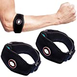UNIS 2 Pack Elbow Support Brace Tennis Elbow Strap with Compression Pad Fit for Men and Women