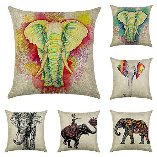 JOTOM Kissenbezug Kissenhülle Dekokissen Fall Sofa Auto Kissenbezüge Home Bed Decor 45 x 45 cm, 6er Set (Elefanten)