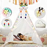 AerWo Teepee Tent for Kids with Lights, 48' Pure Cotton Tipi Tents for Boys and Girls Indoor Outdoor, Baby and Toddler,Great for Outdoor Play Tee Pee for Children Sturdy and Comfort Tipi Playhouse