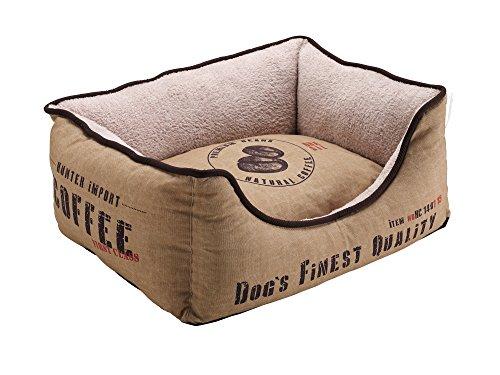 HUNTER Brasilia Hundesofa, Kaffeesack-Optik, mit weichem Plüschbesatz, Wendekissen, 60x 40 cm