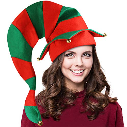 Christmas Elf Hat, Extra Long Green And Red Striped Thick Hat for Kids Adults Dress Up