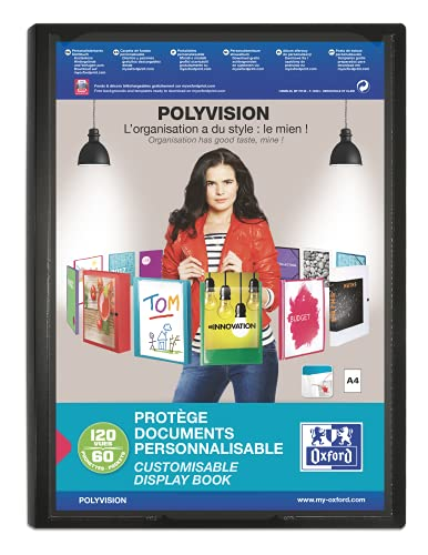 OXFORD Protège-Documents Polyvision A4 120 vues / 60 pochettes Couverture Polypro Opaque Coloris Assortis