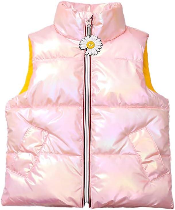 Lightweight Vest Winter Down Cotton Vests Jackets Kids Lightweight Sleeveless Jacket Boys Girls Puffer Down Vest Child (Color : Pink, Size : Small)