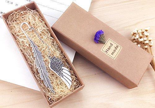 eMosQ Segnalibro in metallo, con rivestimento in ottone, a forma di piuma, classico, realizzato a mano, in confezione regalo wing-silver