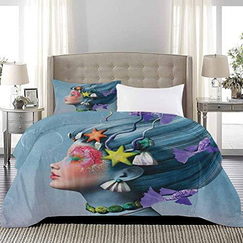 UNOSEKS LANZON - Juego de edredón infantil para mujer con temática subacuática, diseño de estrellas de mar, conchas marinas y burbujas, juego de cama de lujo, ligero, multicolor, tamaño completo