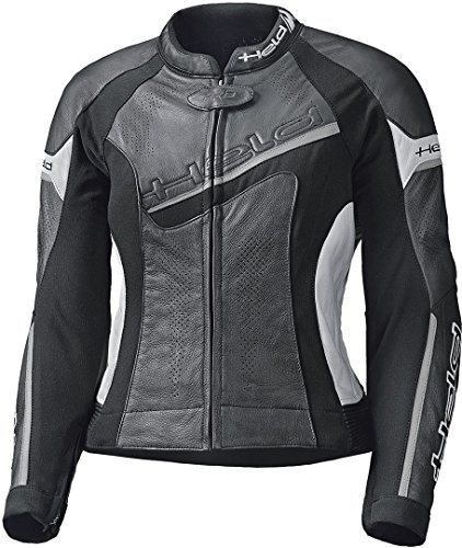 Held Motorradjacke mit Protektoren Motorrad Jacke Debbie II Damen Lederjacke schwarz/weiß 46, Sportler, Ganzjährig