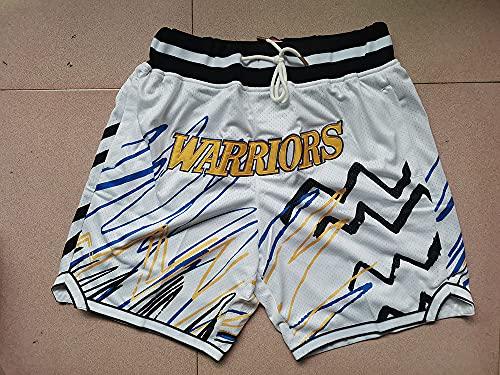 HS-XP Pantalones Cortos De Baloncesto Juvenil para Hombres, NBA Golden State Warriors Summer City Edition Mesh Ballball Ballball Shorts - Desgaste Cotidiano,Blanco,XL(180~185cm)
