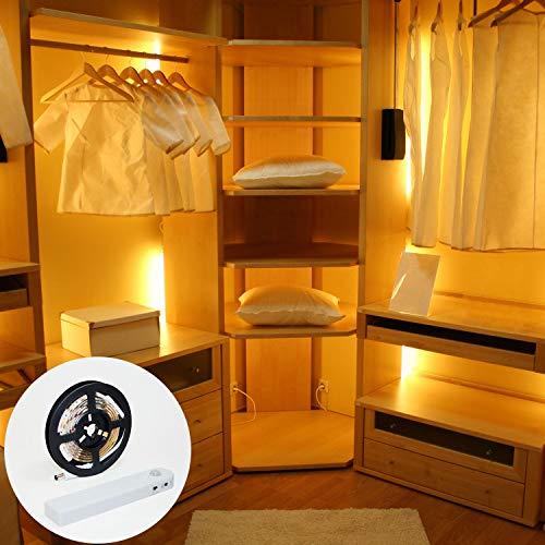 Tira de luces LED con sensor de movimiento. Luces LED útiles para iluminar su armario, escalera, cocina, baño, etc. Tira luz LED de 1 Metro. Funciona con 4 pilas AAA, no incluidas.