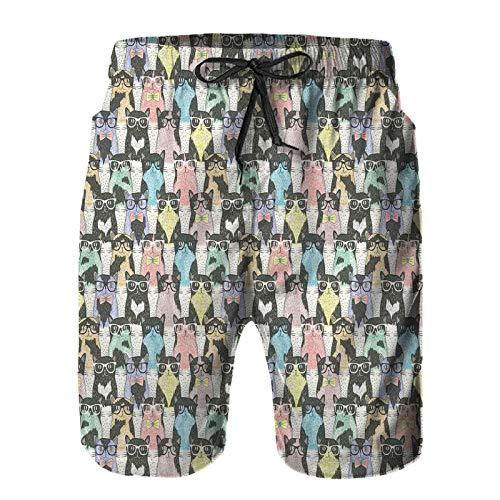 Mesk Hombres Playa Bañador Shorts,Patrón con Personajes Felinos Juguetones Hipster con Gafas y Pajaritas Estilo Vintage,Traje de baño con Forro de Malla de Secado rápido 2XL