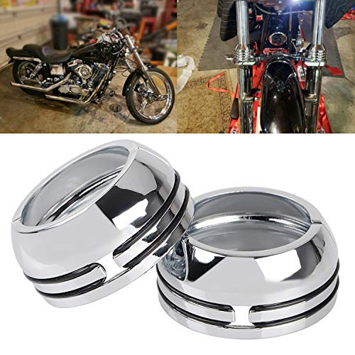 XMMT Chrome 49mm Fork Boot Covers for Harley Dyna Fat Bob,Low Rider,Street Bob,Super Glide,Wide Glide & VRSC