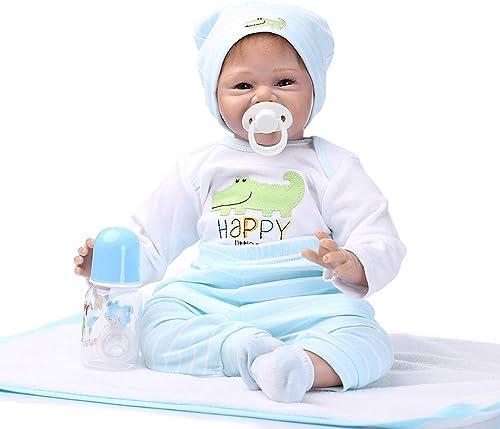 0Miaxudh Simulation Baby Puppe Spielzeug, 22 Zoll Sch  Simulation Silikon Baby Doll Lebensechte Nette L elnde Badespielzeug